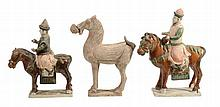 Three Tang style pottery models of Horses , two with riders