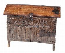 An oak boarded chest or box, mid 17th century and later, of small proportions