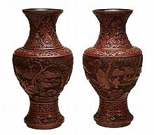 A large pair of Chinese cinnabar lacquer vases, 19th century