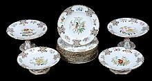 An English porcelain part dessert service, mid 19th century