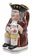 A Staffordshire pottery Toby jug, circa 1825
