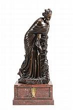 A French patinated bronze model of a maiden, third quarter 19th century
