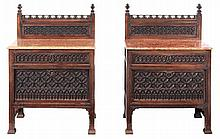 A pair of walnut Gothic revival cabinets, last quarter 19th century