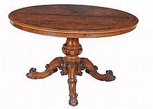 A Victorian walnut and burr walnut circular centre table, circa 1870
