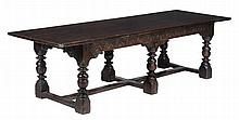 An oak refectory table, some 17th century elements