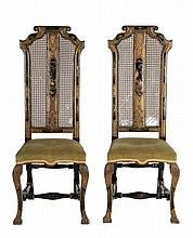 A pair of lacquer and japanned chairs in Queen Mary style