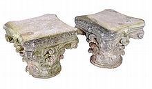 A pair of stone composition column capitals, 20th century, of Corinthian order