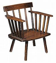 A Welsh ash and elm low chair , 18th century