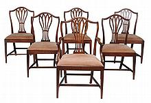 A set of six George III dining chairs , circa 1780 and later