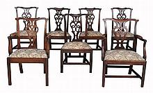 A harlequin set of seven George III mahogany dining chairs, circa 1780