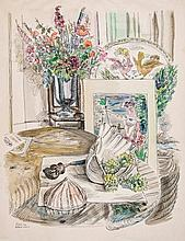 Peter Samuelson (1912-1996) - Without Music; An interior with still life of flowers, and with a dog beside a fireplace