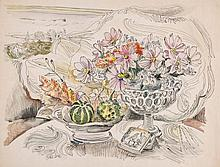 Peter Samuelson (1912-1996) - Still life with a bowl of fruit, a vase of flowers, and a landscape beyond