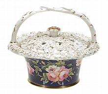 A Chamberlain's Worcester blue-ground pot-pourri basket and cover , circa 1820