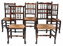 A harlequin set of ten oak spindle-back dining chairs , 19th century