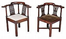 Two similar George III mahogany corner chairs, circa 1780