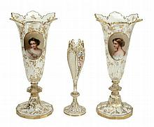 A pair of Bohemian clear-glass and gilt portrait trumpet vases