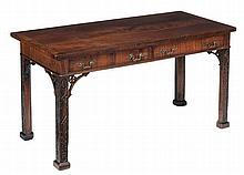 A George III mahogany serving table , the cross-banded mahogany top above...