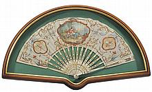 A painted silk and sequin applied pleated fan,
