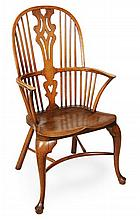 An ash, oak and fruitwood highback armchair, 20th