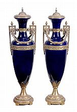 A pair of gilt metal mounted bleu celeste