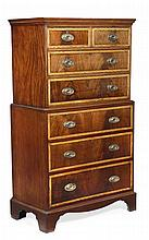 A mahogany and satinwood crossbanded chest on