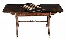 A Regency rosewood, ebony and brass inlaid sofa and games table, circa 1815