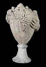 An Imperial Roman marble sculpture of a basket of fruit