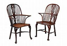 A matched pair of yew and ash high back windsor armchairs, circa 1760