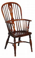 An ash and elm high back windsor armchair, stamped NICHOLSON ROCKLEY
