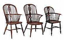 A matched set of six ash and elm windsor armchairs