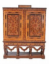 A Dutch walnut and seaweed marquetry press cupboard, circa 1750