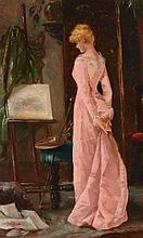 Attributed to Victor Gabriel Gilbert (1847-1933) - Elegant lady in an artist's studio interior, wearing a pink dress