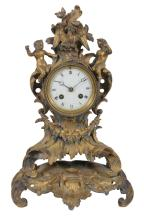A French gilt-bronze mantel clock in Loius XV style, second half 19th century