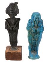 An Egyptian bright blue glazed composition shabti, 30 th Dynasty