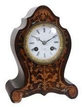 A French rosewood and marquetry inlaid mantel clock , second half 19th century