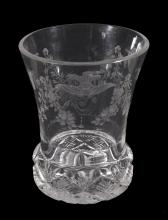 A Bohemian clear-glass and engraved flared tumbler, late 19th century