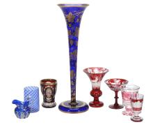 Eight items of mostly Bohemian and later glass, 19th and 20th centuries