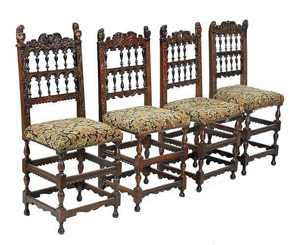 A matched set of four walnut chairs in 17th