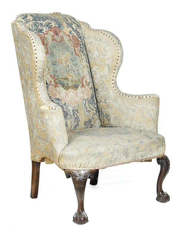 A George I walnut framed and needlework