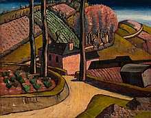Frank Dobson (1888 - 1963) Landscape at Newlyn oil