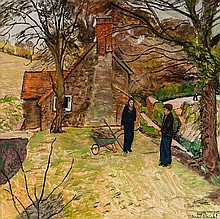 Carel Weight (1908-1997) Figures near a cottage,