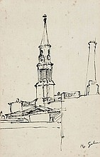 Harold Gilman (1876-1919) Steeple, Leeds pen and