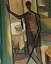 John Melville (1902-1986) Lady standing with