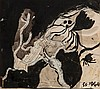 Graham Sutherland (1903-1980) Study of a fig tree against landscape, 1944 ink,