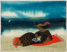 Mary Fedden (1915 - 2012) Mother and child on the