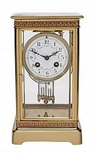 A French lacquered brass four-glass mantel clock, Samuel Marti and Cie, Paris