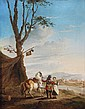 Dutch School (18th century) Figures by a camp, Oil