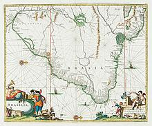 Montanus (Arnoldus) - Brasilia engraved map with