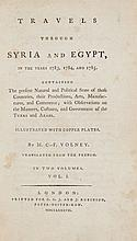 Volney -  Travels through Syria and Egypt, 2 vol., one folding engraved map...