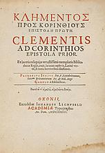 Clement I -  Ad Corinthios epistola prior, large paper copy, Greek and Latin text